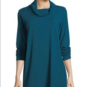 Eileen Fisher teal cowl neck tunic size Medium